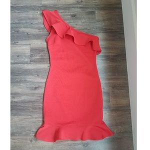 Ruffle, one-shoulder dress